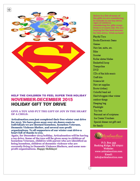 ARTICALMOTION 2015 TOY DRIVE