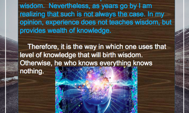 EXPERIENCE VS WISDOM